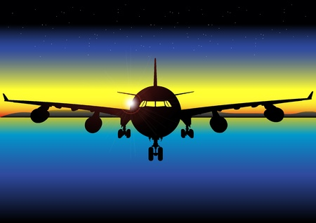depart: A Stock Vector illustration of a plane at dawn