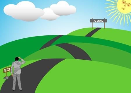 lejos: Una ilustración vectorial de archivo de un hombre caminar en un largo camino arriba y abajo de una colina para conseguir su objetivo en la vida