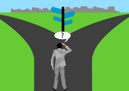 two way: A Stock of a man getting confuse which way he must take to reach the city as a symbolism of decision making is important in life Illustration