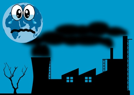 polluted: A Stock Illustration of Earth crying because of pollution everywhere Illustration
