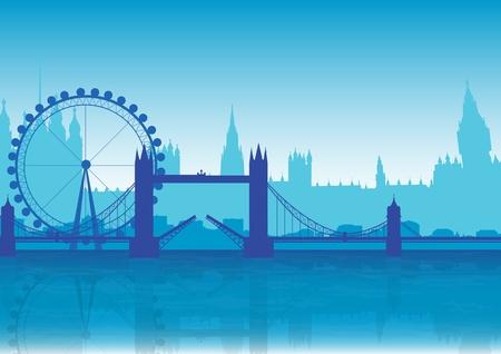 A Stock Illustration of London Landmarks in Blue