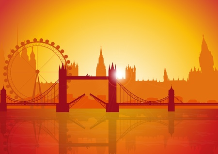 A Stock illustration of London city and Landmarks at Sunset