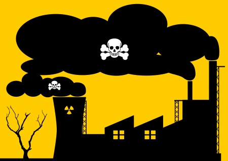 smog: A Stock illustration of a factory and nuclear plant polluting the air with hazardous smoke Illustration