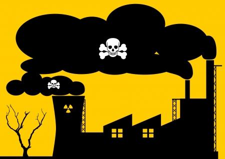hazardous: Una illustrazione Archivio di una fabbrica e centrale nucleare inquinare l'aria di fumo pericolosi Vettoriali