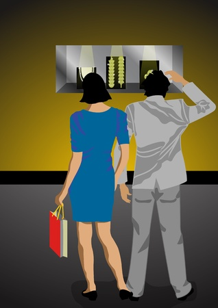 gimmick: A Stock illustration of a couple walk in a mall for window shopping