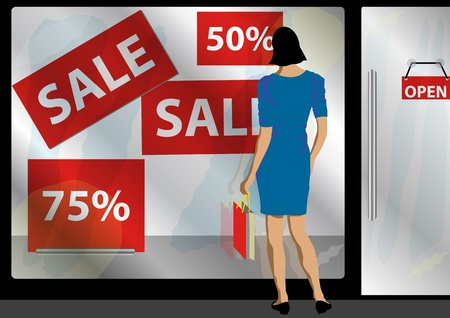 gimmick: A Stock illustration of a women standing in front of a shop window attracted with sale and promotion
