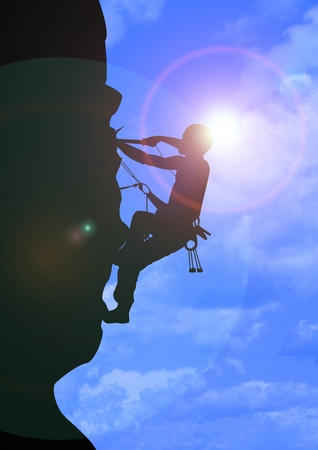 A Stock Image illustration of a man climbing illustration