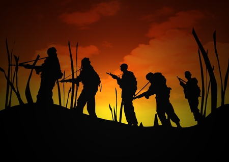 A Stock image of Soldiers patrol at Dawn Stock Photo - 13358888