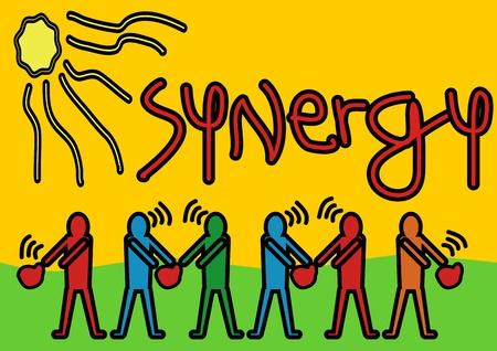 synergie: Ein Stockvektor Pop-Art-Illustration der M�nner Synergie zusammen als Teamarbeit Ein Symbol f�r Synergie und Teamwork