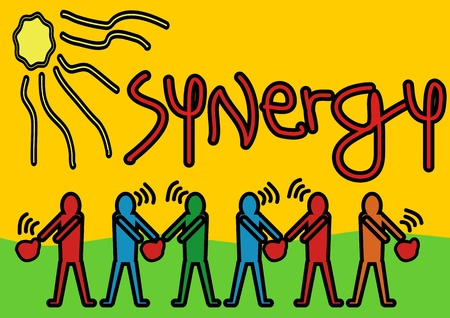 sinergia: Un vector de archivo pop arte de la ilustración de la sinergia a los hombres como el trabajo en equipo Símbolo de Sinergia y trabajo en equipo