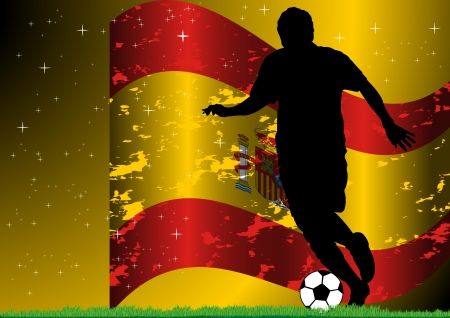 A Stock illustration of soccer player with Spain flag background Vector