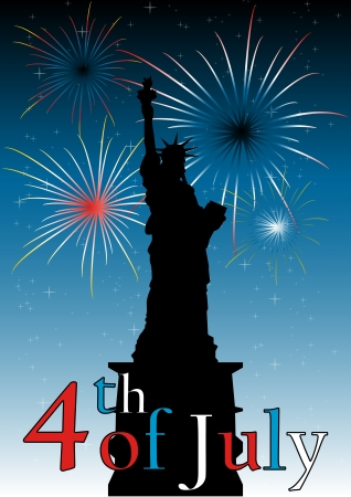 fire works: A Stock illustration of 4 of July celebrations at Liberty Statue as a symbolism of freedom and independence