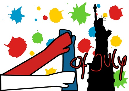 A Stock illustration of 4 of july celebrations in Pop Art Style Vector