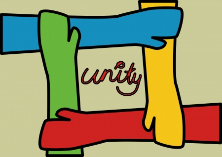 hand colored: A Stock Illustration of 4 hands unite together in Pop Art Style