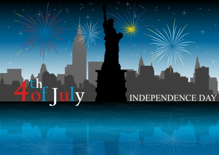 sillhouette: A Stock illustration of Independence Day of USA at New York City Illustration