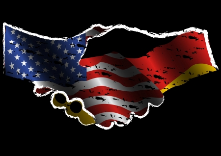 allied: illustration of USA flag and Germany Flag illustrated in 2 hands handshake together as a symbolism of unity, agreement, and alliance, in grunge style