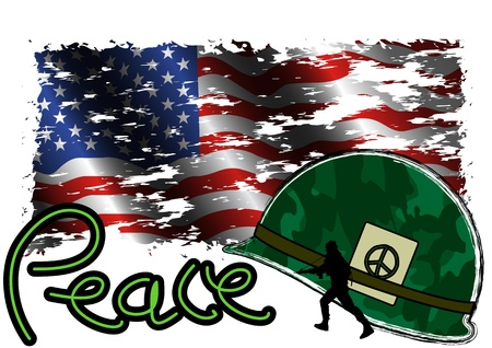 army flag: illustration Peace and stop war with USA flag and helmet in grunge style