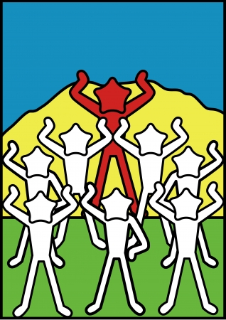 homily: illustration of Star Character Happy and Praise together in pop art style