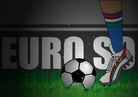 corner kick: Illustration of Italy team kick off