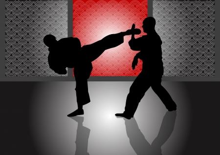 artes marciales: Ilustraciones Vectoriales de Stock de entrenamiento del karate