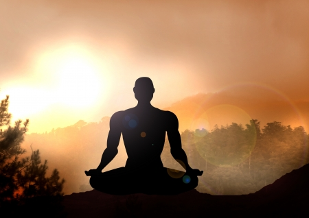 Stock Illustration of Meditation on Mountain illustration