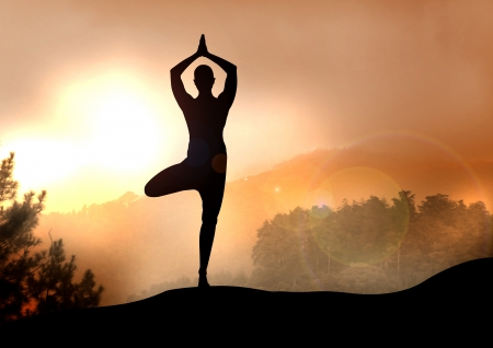 yoga sunset: Stock Illustration of Yoga on Mountain