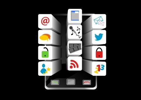 pop up: De illustratiebeschrijving van Social Media smartphone met pop-up-pictogram Stock Illustratie