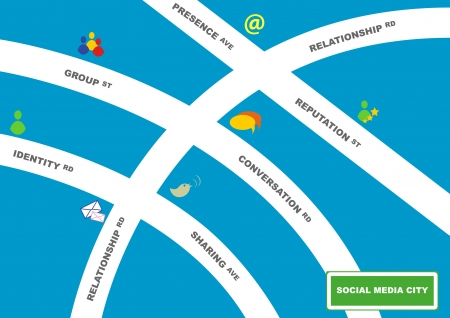 Illustration of A Map of Social Media City Vector