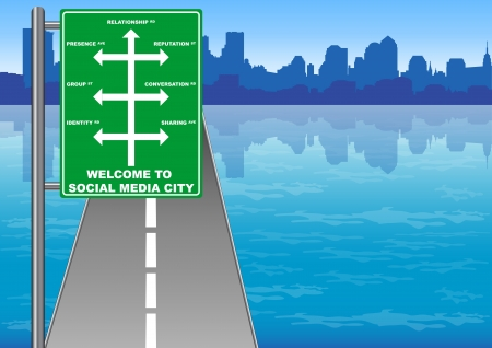 Illustration of Social Media City direction sign Vector