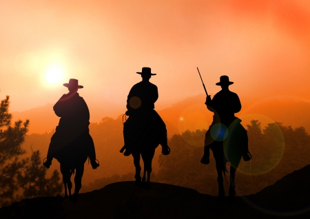 desert sunset: Stock Illustration of Horse Rider on Mountain Stock Photo