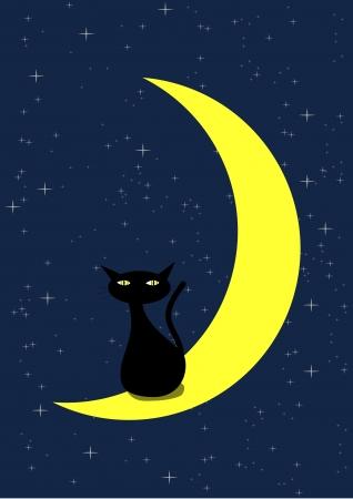 silueta de gato negro: Ilustración vectorial de Gato Negro y la Luna Media Luna Vectores