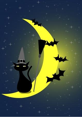 star and crescent: Ilustraci�n vectorial de Halloween Gato Negro y murci�lagos