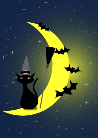 Stock vector illustration of Halloween Black Cat and Bats