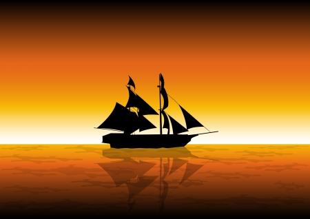 Illustration de voilier au coucher du soleil