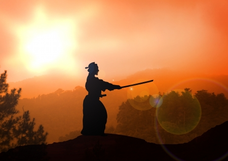 kendo: Stock Illustration of a man practice Kendo at Sunset Stock Photo
