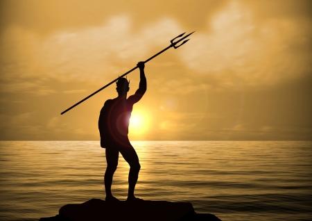 neptuno: Neptuno Dios en el Sunset Foto de archivo