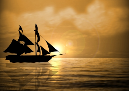 Stock illustration of Sail Ship at Sunset illustration