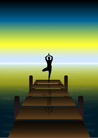 Stock Vector illustration of Yoga on a Sunset at Beach Bridge Stock Vector - 15751868