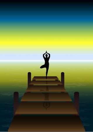 Stock Vector illustration of Yoga on a Sunset at Beach Bridge Stock Vector - 15751868
