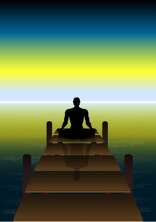 Stock Vector illustration Sitting Yoga on a Sunset at Beach Bridge Stock Vector - 15751866