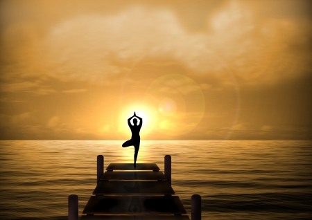 Stock Illustration of Yoga on Beach Bridge at Sunset illustration