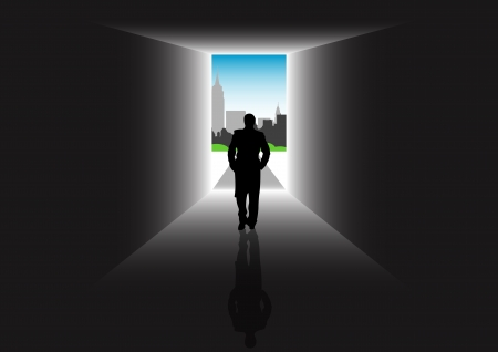 Stock illustration of a man walking through a new city for new job, life and hope Illustration