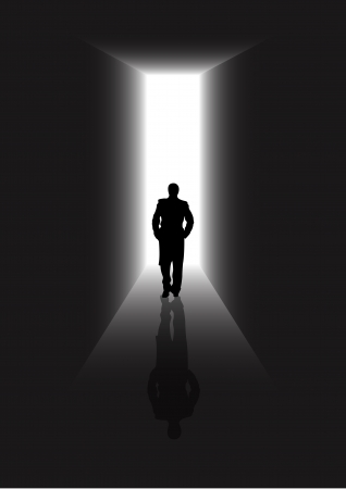 Stock illustration of a man walking in a passage of new life