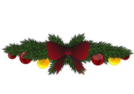 Stock Vector Christmas garland with ribbon and balls Illustration