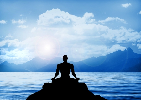 Stock illustration of meditation on a lake