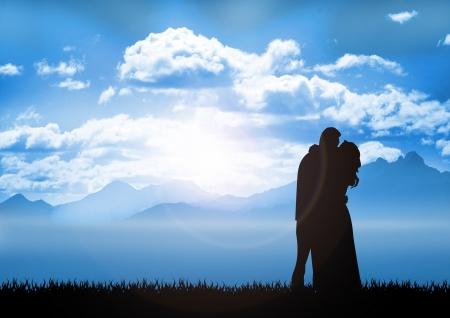 Stock illustration of Couple in sunrise Stock Illustration - 17477429