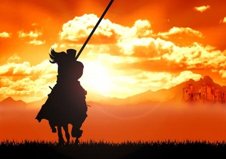 horse warrior: Stock Illustration of Horse riding warrior