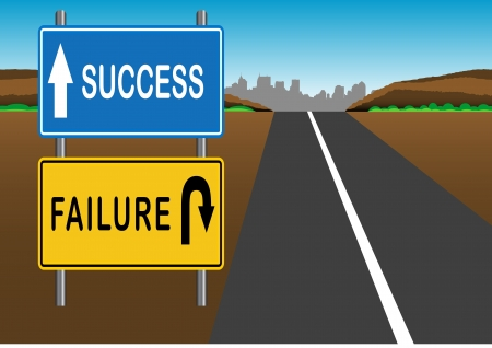 dirt road: Stock Vector illustration way of Success and Failure Sign 1