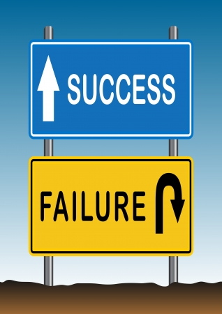 Stock Vector illustration way of Success and Failure Sign 2 Illustration