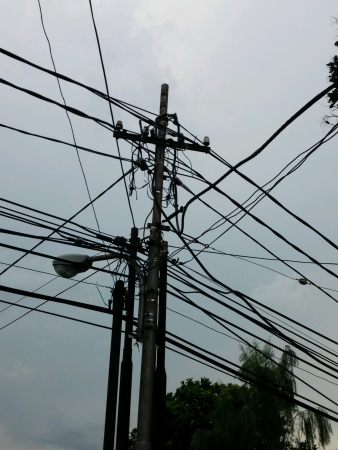 wire: Complicated electrical power line Stock Photo
